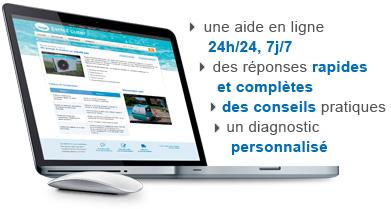 Aide en ligne 24h/24, 7j./7, des réponses rapides et complètes; des conseils, etc.